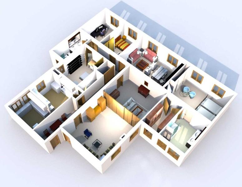 Arquitectura planos 3d images for Plano casa 3d